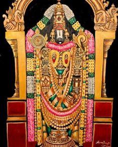 Lord Srinivasa Of Thirumala-thirupathy-india Painting by Sankaranarayanan Mysore Painting, India Painting, Tanjore Painting, God Pictures, Amazing Pictures, Shri Ram Photo, Lord Murugan Wallpapers, Ram Photos