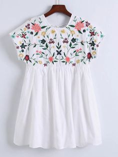 SheIn offers Flower Embroidery C. SheIn offers Flower Embroidery C… Shop Flower Embroidery Cap Sleeve Dress online. Kurta Designs, Blouse Designs, Designer Wear, Designer Dresses, Estilo Hippie, Embroidery Dress, Embroidery Shop, Embroidery Patterns, Baby Dress