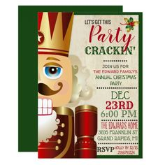 Nutcracker Holiday Christmas Invitation #christmas #invitations #invites #partyinvitations