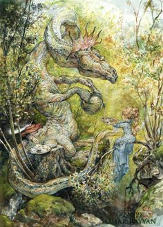 A dragon serves a fairy princess tea in this fantasy childrens book illustration by Omar Rayyan « « Mayhem & Muse