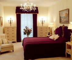 """See 1704 photos and 230 tips from 18114 visitors to Graceland. """"Home of Elvis Presley! Such a beautiful home. Royal Purple Bedrooms, Plum Bedroom, Purple Bedroom Design, Small Bedroom Designs, Bedroom Decor, Cozy Bedroom, Bedroom Ideas, Minimalist House Design, Minimalist Home"""