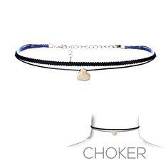 La Coqueta Jewelry Black Choker Necklace Thin Gold Heart Colored - LA COQUETA JEWELRY#ETSY