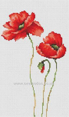 Buy 3 Poppies Cross Stitch Kit Online at www.sewandso.co.uk