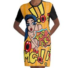 My latest design! It's cray cray I know, what do you think? Pop Art Fashion Retro Comic Style - super unique and trendy!! http://www.redbubble.com/people/cartoonistlg/works/24783538-pop-art-fashion-retro-comic-style-by-leahg?asc=t&p=a-line-dress@redbubble #popartfashion #comicartfashion #popart #fashion