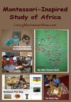 Roundup post with Montessori-inspired activities for Africa for a variety of ages; Africa continent box activities and many more hands-on activities