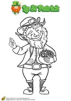 Image à colorier d'un Lepreuchaun barbu et joyeux de sa récolte pendant la Saint Patrick