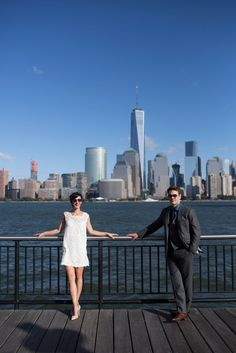 New York Skyline Bride and Groom Pictures: Jersey City, New Jersey Wedding - Kaylina Norton Photography
