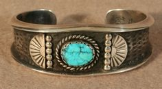 Sterling Silver Tufa Cast Cuff Bracelet with Turquoise Cabochon, Jewelry by Navajo