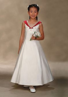 A-Line V-neck Tea-length Satin Flower girls dress 2013 Style(FGD0002) [100202709] - $119.99 : Wedding Dresses, Bridesmaid Dresses, Cheap Wedding Gowns