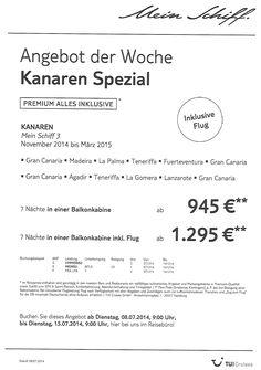 Angebot der Woche Mein Schiff Kanaren Spezial  www.alpentravelservice.eu