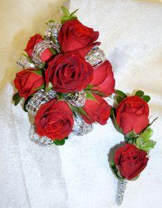 Red Spray rose wrist corsage