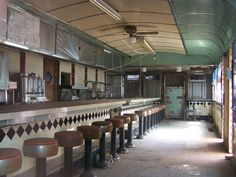Abandoned diner counter, New Jersey