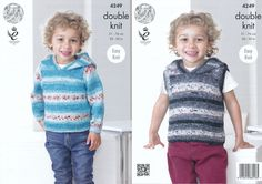 King Cole Double Knitting Pattern - Boys Hooded Sweater & Slipover (4249) - Mill Outlets