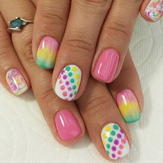 Bright and colorful #pokadots #ombre. #brightnails #naturalnails #nofakies #beautifulnaturalnails #noacrylic #lovnailartideas #nailfeatures #nailsofinstagram #nailartoftheday #nailsartideas #nails #nailart #bestinabq #nailnaturale #lovelovethesenails #loveseeingyourface #freehand #gelnailart #biosculptureusa #biosculpturegelusa #biosculpturegel #nailfashion