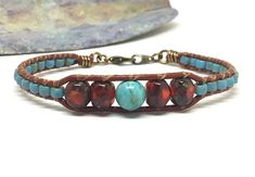 Beaded Leather Bracelet Southwest Bracelet Leather Cuff
