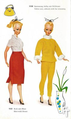 Lilli Catalogue. Svelte fashions from a post-war Germany reflecting a desire for modernism. Notice the Fat Lava modernistic biomorphic vase, something that the author collected as early as when he started collecting Bild Lilli in the 70s and is now a very fashionable trend in collectible pottery.