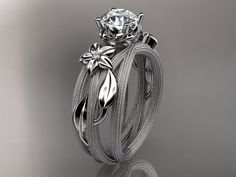 14kt  white gold diamond floralleaf and vine  by anjaysdesigns, $1,100.00