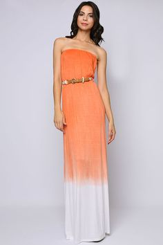 Sunrise Watercolor Maxi Dress #orange #boho #hippie #strapless #dress