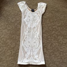 Bebe lace bodycon dress Bebe cream lace bodycon dress. Ruffle cap sleeves. Worn once. bebe Dresses Mini