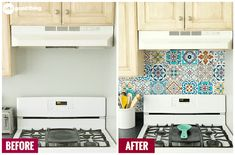 Could your kitchen use a facelift? Creating a backsplash with peel-and-stick tiles is a simple, effective, and totally damage-free way to spruce up your kitchen. Perfect for homeowners and renters alike! Peel And Stick Tile, Stick On Tiles, Home Improvement Show, Home Improvement Projects, Affordable Garage Doors, Stick Tile Backsplash, Backsplash Ideas, Kitchen On A Budget, Kitchen Ideas