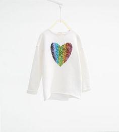 ZARA - KINDER - Sweatshirt mit Pailletten und Herz