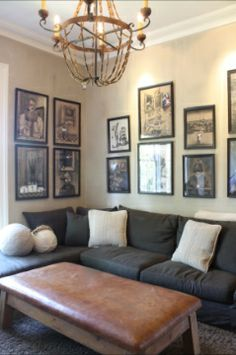 Love the color of the sofa, and the photos... wish I had more wall space top work with!