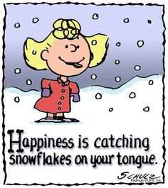 Happiness is catching snowflakes on your tongue. :)