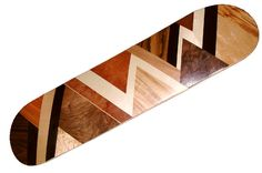 skateboard deck with marquetry decoration