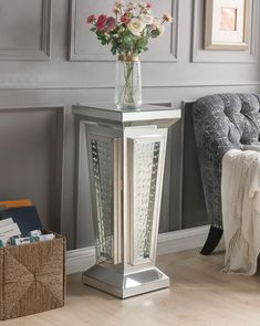 Nysa Pedestal Stand in Mirrored & Faux Crystals - Acme Furniture 80392 80392 Features: Occasional TableMirrored Top & ApronBeveled Mirrored Pedestal Base: Clear Glass with Faux Crystal InalyGlam/Modern Style Approximate Dimension: x x Item Weight: 97 lbs. Glam Mirror, Mirror Trim, Mirror Panels, Wood Mirror, Beveled Mirror, Mirror Glass, Mirrors, Acme Furniture, Mirrored Furniture