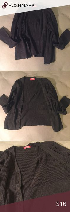Black Cardigan Stylish black cardigan with a hint of sparkle. Worn a few times, no rips or holes. Fits a small-medium. Comment any questions below (-: ESPRIT Sweaters Cardigans