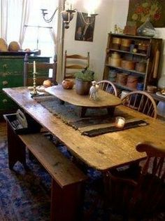 with old table riser woven runnerwould love to own a table riser very pretty primitive kitchen - Primitive Kitchen Tables