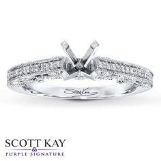 Scott Kay Ring Setting 1/6 ct tw Diamonds 14K White Gold