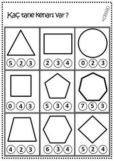 Shapes Worksheet Kindergarten, Shapes Worksheets, Numbers Kindergarten, Kids Math Worksheets, Numbers Preschool, Preschool Learning Activities, Preschool Lessons, Shapes For Kids, Math For Kids