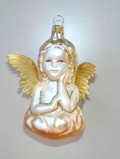 Nostalgie-Glasschmuck, Engel mit Papierflügeln, 12 cm, Handarbeit