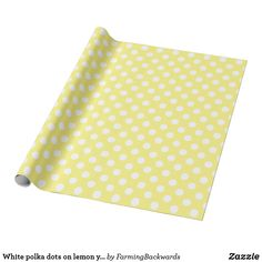 Shop White polka dots on lemon yellow wrapping paper created by FarmingBackwards. Custom Wrapping Paper, Lemon Yellow, Powder Pink, Quatrefoil, White Shop, Navy And White, Polka Dots, Wraps, Gift Wrapping