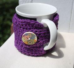 Mug Cozy, Cup Cozy, Coffee Mug Cozy, Crocheted, Purple Cozy