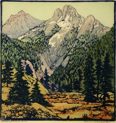 On The Kit Carson Trail, 1933 by Frances Hammell Gearhart (b. 1869-1958), Californian artist (occasionally taught by Charles H. Woodbury) known for her colour woodcuts of the Sierras, the Pacific Coast, and the area around Big Bear Lake. She described sentinel trees, groves of eucalyptus, pines, oaks and Monterey cypress as well as valleys and canyons. http://www.francesgearhart.com/ Tags: Helen Elstone, Mountains, Canyons, Woods, Forest, Trees
