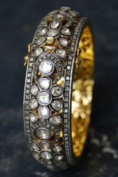 RONA PFEIFFER Flower Patterned Large Rose Cut & Pave Diamond Bangle Set in Sterling Silver & 14 K Gold Backing, 11,000 USD