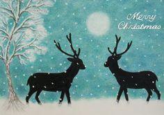 Christmas #Card, #Christmas #Snow Card, Christmas #Deer Card, Christmas #Reindeer Snow Card by ClaudinesArtCards  @Etsy http://etsy.me/1jKYC2I  on Etsy