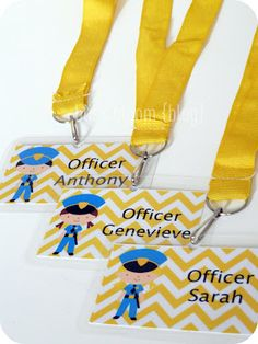 """Police themed party - lots of fantastic ideas here for favours, """"donuts"""", decorations, all fairly easy and inexpensive! 6th Birthday Parties, Boy Birthday, Birthday Ideas, Cop Party, Police Activities, Impreza, Police Officer, Police Police, Lego Police"""