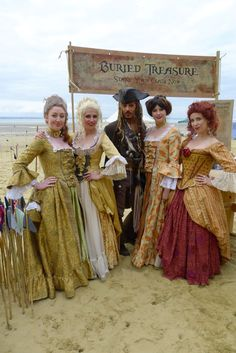 Captain Jack Sparrow with Scarlett & Giselle and lovely lady friends.  Ladies costumes made by Fairy-Tailor.