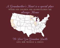 Grandmother Gifts, Gift for Grandma, Birthday Gifts, Grandmas House, Wall Decor Sign, Map Art Print, Nana, Memaw, Great Grandma | WF517