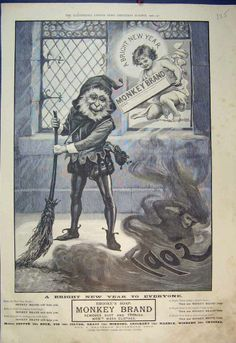 Antique Print 1902 Christmas Advert Brooke Soap Monkey Brand Cleaner