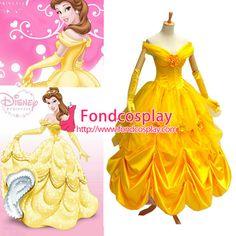 Free Shipping Disney Belle Princess Dress Movie Costume Cosplay Custom-made