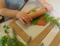 Nature Printing in Clay @ New Horizons Preschool