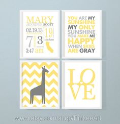 personalized baby prints set, nursery decor birth announcement, baby birth print and nursery quote, love nursery giraffe, birth stats print by PinkeeArt, $29.00