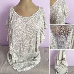 French Laundry Plus Size Blouse Top Shirt Leopard Ruffle Lace Blouse 1X 2X 3X  #FrenchLaundry #Blouse