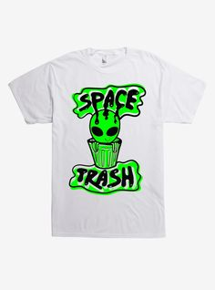 """This gross lil alien is the definition of """"Space trash"""" and that's why we love it! Printed in neon green and black on this white tee. Alien Aesthetic, Aesthetic Space, Space Trash, Rainbow Galaxy, Alien Drawings, Space Grunge, Cute Alien, T Shirt Image, Dye T Shirt"""