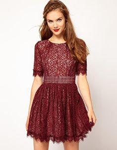 Darling Amelia Lace Skater Dress at ASOS in Burgundy $131.93 - Fall - Winter - Dress