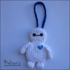 Ravelry: Baymax Luggage or Backpack Tag pattern by Melissa's Crochet Patterns Crochet Hook Sizes, Knit Or Crochet, Crochet Crafts, Single Crochet, Crochet Toys, Crochet Projects, Free Crochet, Yarn Projects, Crochet Beanie